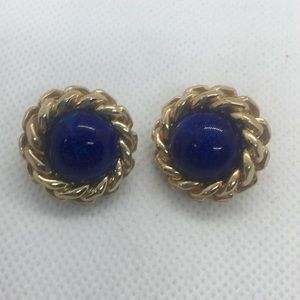 4 for $12: Gold Tone with Blue accent Earrings
